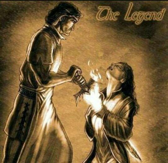 Legendary warrior Azor Ahai plunging the Lightbringer into his beloved wife (Nyssa, Nyssa) heart to end The Long Night.