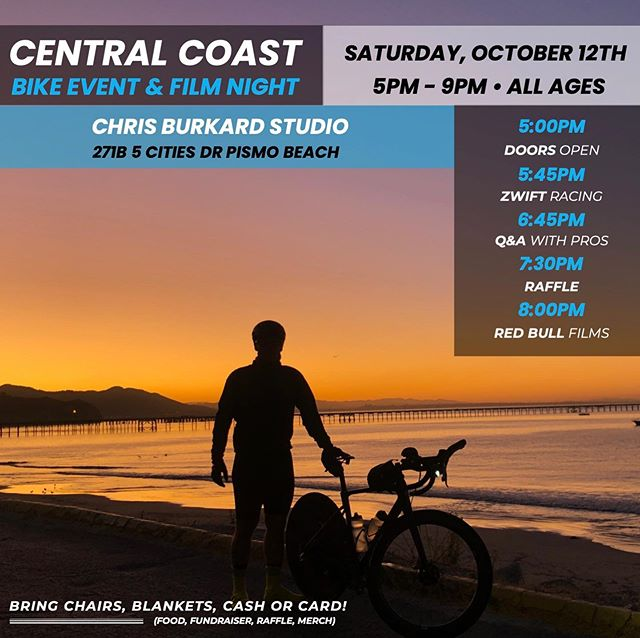 This Saturday's going to be EPIC! Join us @chrisburkard studio for a fun evening celebrating the joy two wheels can bring regards of the terrain you're riding on.  We've got a packed evening with raffle items from @volerapparel @artscyclery @medterracbd @amphuman @gozwift @iamspecialized @petosagan @chrisburkard @clifbar @paysonmcelveen @smithoptics @thule @yeti @velotoze @redbull @fluidnutrition - insane!  We'll also have ZWIFT stations set up for you to post your time on one of ZWIFT's Hill Climb Challenges. Prizes to be awarded for awesomeness & participation.  Ask @juswilliamz and @christopherblevs your questions during our Pro Q&A Panel. What makes these guys tick? How do they structure their training? Do they see the sport growing in the US in a specific way? The floor is yours!! We'll end the evening by screening some of @redbull 's best films. 'STANDING MAN' featuring @paysonmcelveen and 'BLOOD ROAD' featuring @rebeccarusch.  Come hang out! @whalebirdkombucha & tacos make a great combo. 🤙🚀