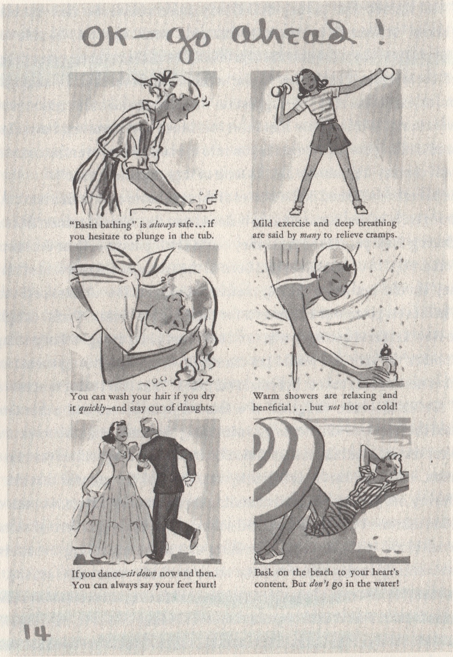 """Menstrual dos from """"As One Girl to Another,"""" an educational pamphlet for girls published by Kimberly-Clark, 1940 (courtesy of Duke University Rare Book, Manuscript and Special Collections Library, Durham, North Carolina)"""