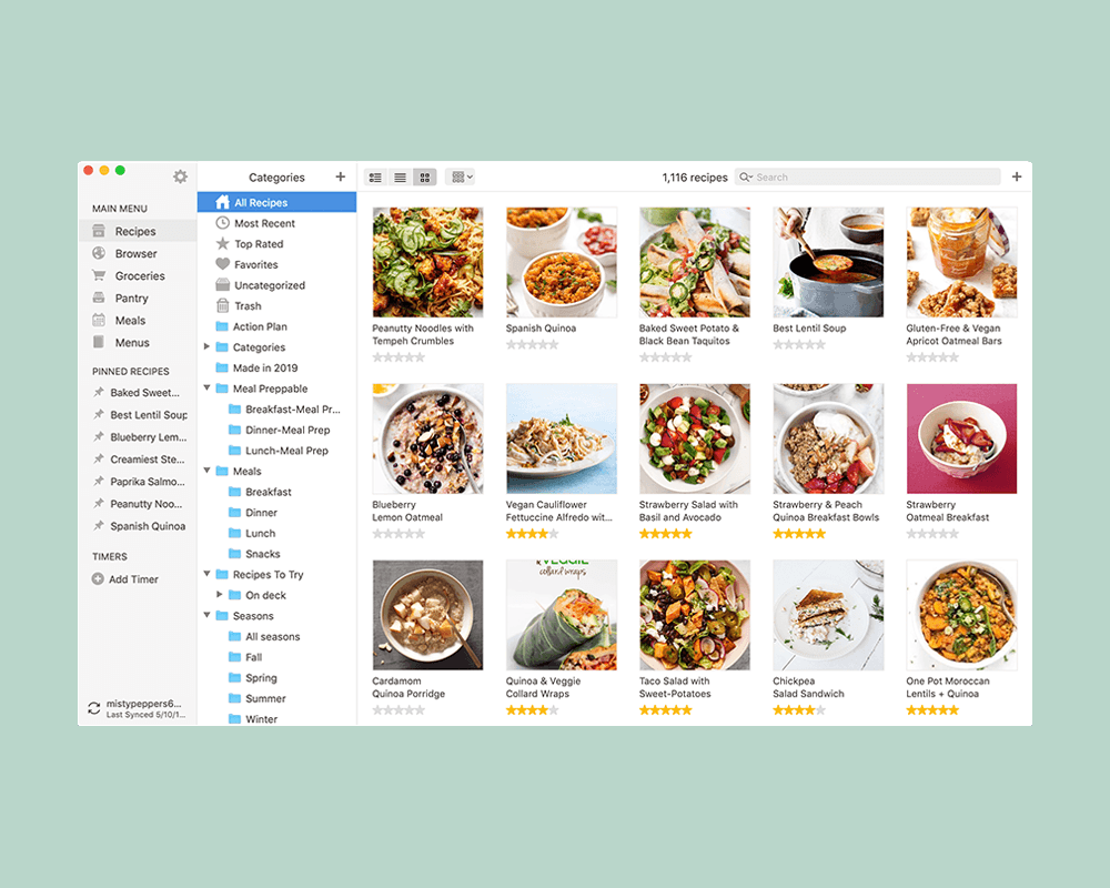 """Tip: This part is totally optional, but I find it helpful during the week when we pull the app back up to make dinner. You can drag recipes over to the left sidebar to """"pin"""" them for later."""