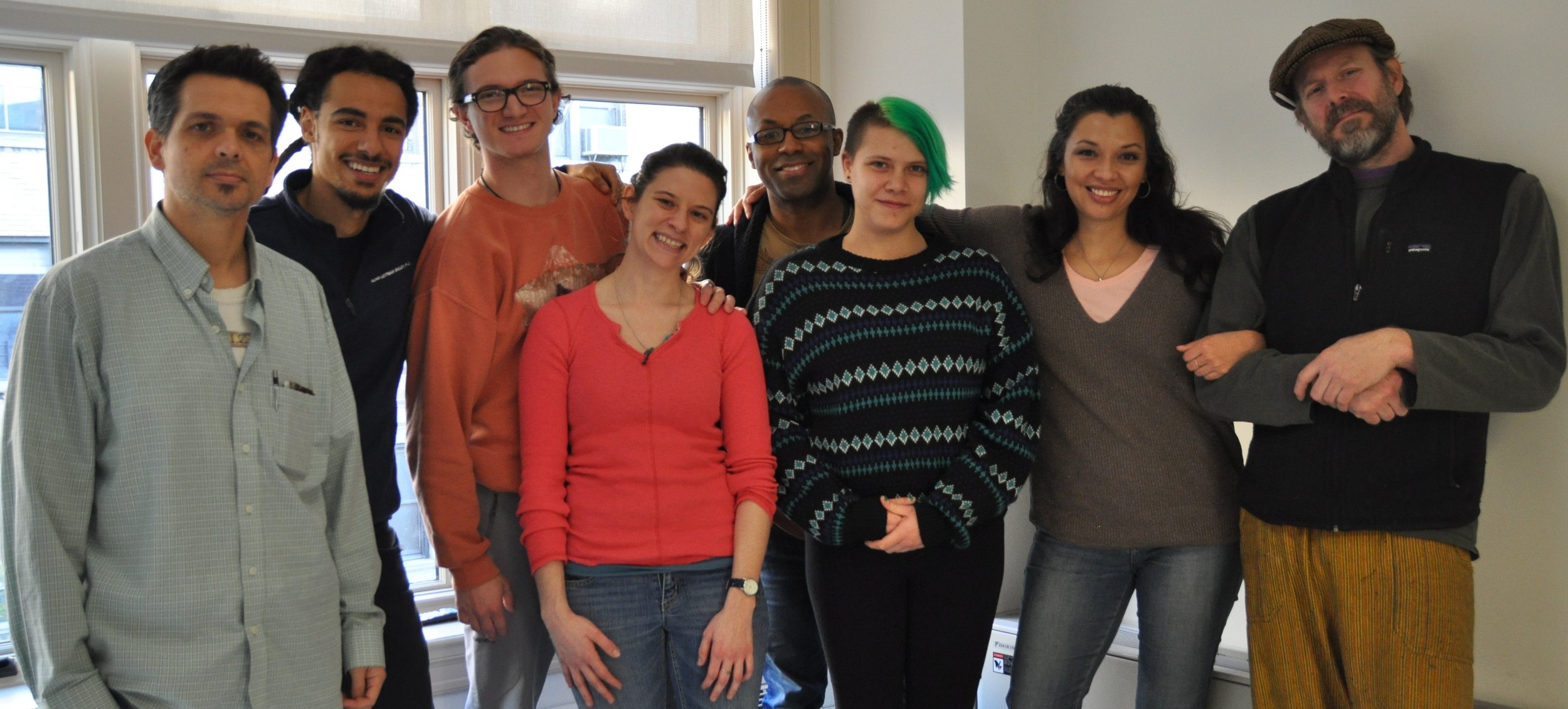 (L-R) Playwright Kirby Fields, Silvestre Rasuk, Max Lebow, Stage Manager Samantha Davis, Devin Haqq, Genevieve Windbiel, Cynthia Bastidas, Director Josh Liveright | Photo: Jacki Goldhammer