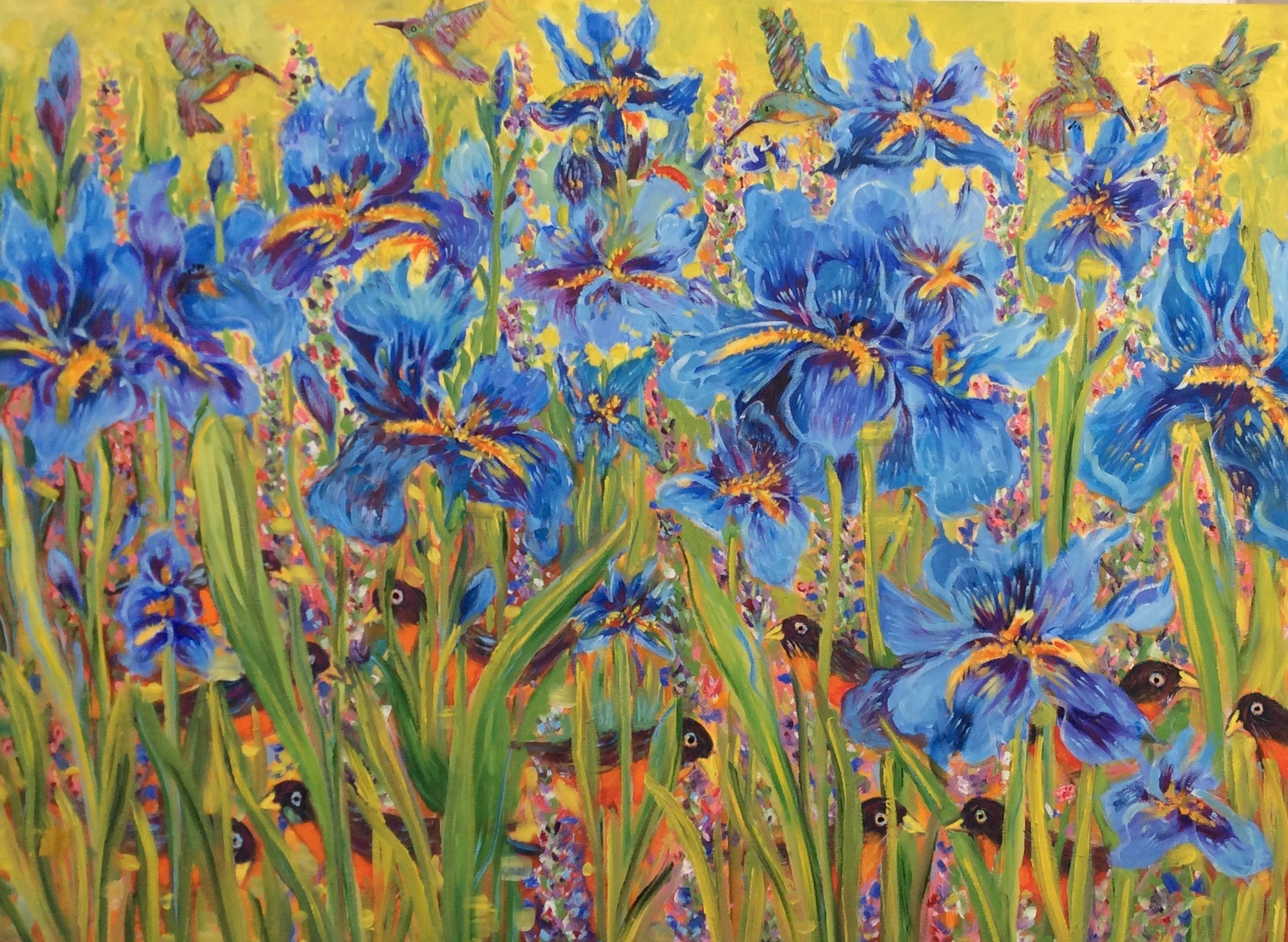 """Irises, Hummingbirds and Robins"""