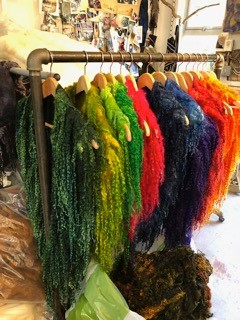 Brightly dyed Wensleydale wool wraps
