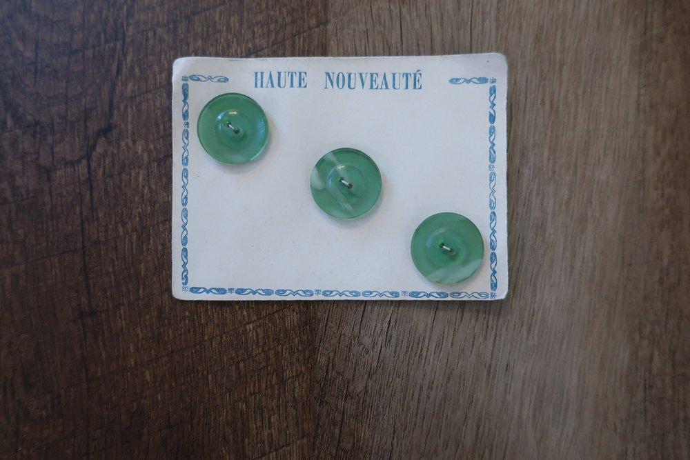 Vintage French 1930s Card of 12 Dark Grey  Green Casein 3cm Round Buttons