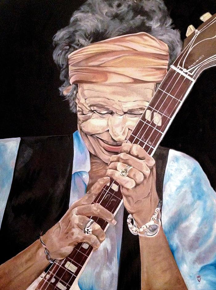 Keith Richards - Oil on Canvas, photograph credit to Francesco Carrozzini- Available