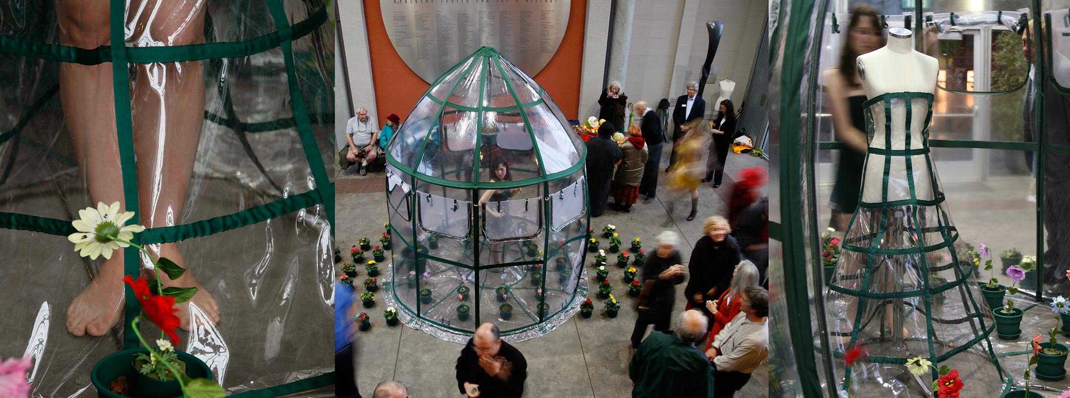 GREENHOUSE DRESS TENT INSTALLATION  Santa Cruz Museum of Art, Santa Cruz, CA