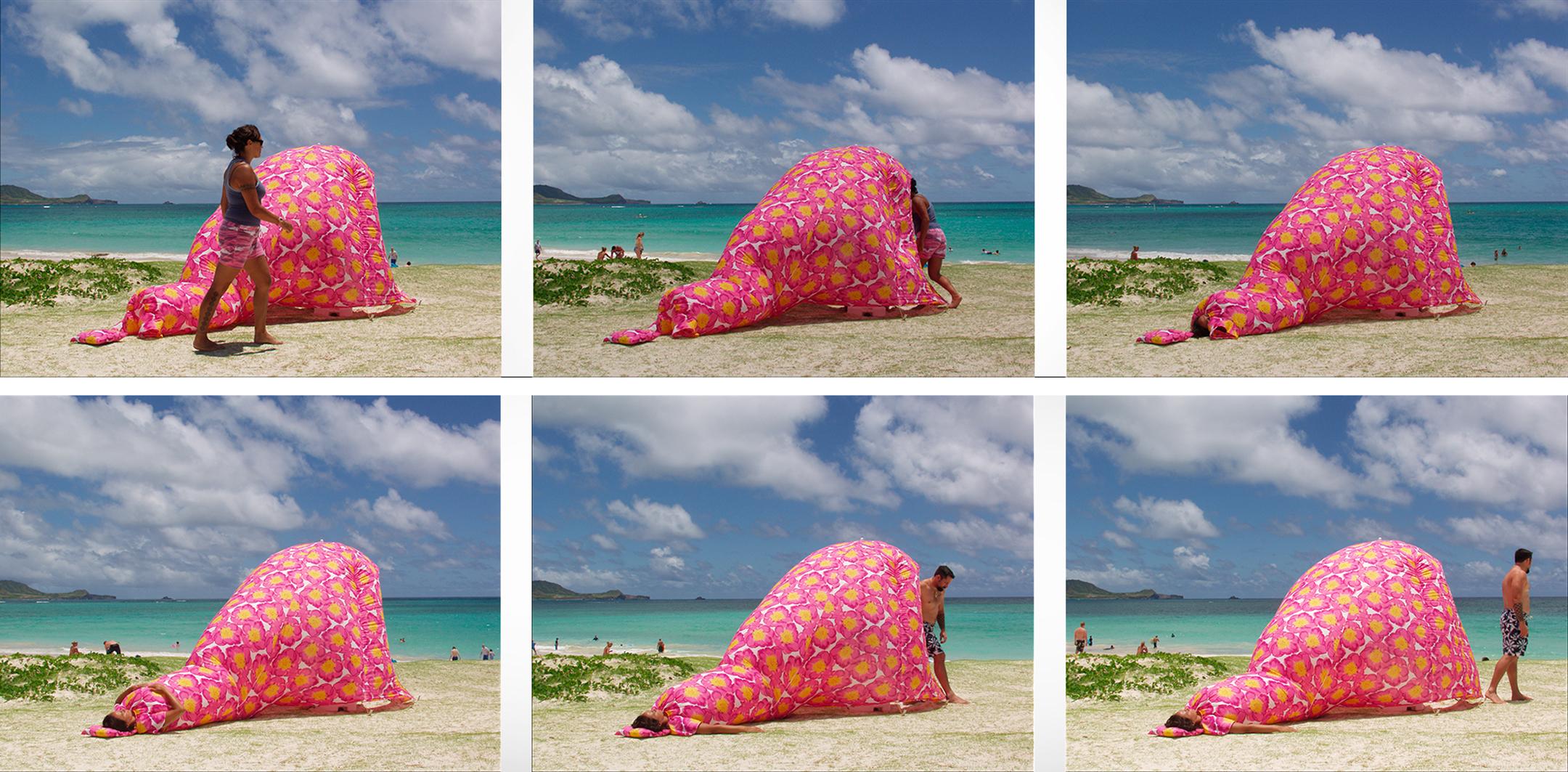 MISSIONARY MUUMUU DRESS TENT INSTALLATION  Kailua Beach, HI