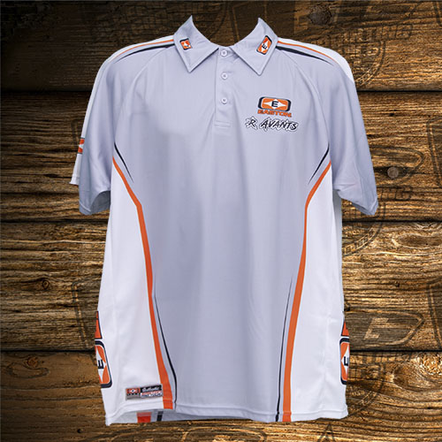 Avants Wartorn Archery Orange-Gray Polo Front.jpg