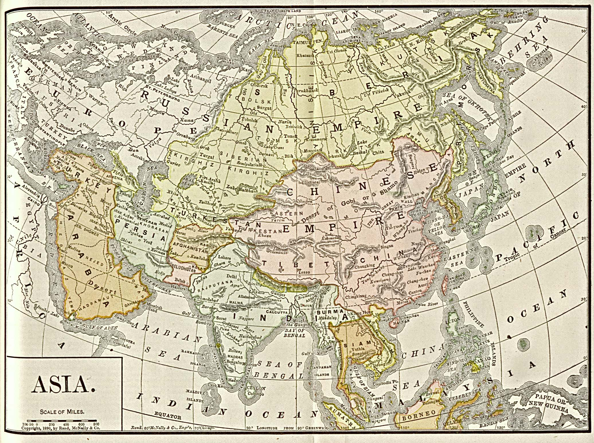 """Asia"" from Americanized Encyclopaedia Britannica, Vol.1, Chicago 1892. Courtesy of the University of Texas Libraries, The University of Texas at Austin."