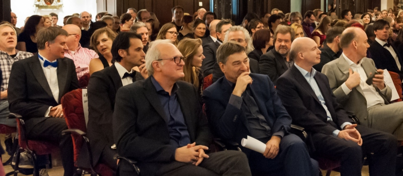 Fantastic literature: member of the jury of the Paul harland short story award, 2016. Four genre writers in the front row.