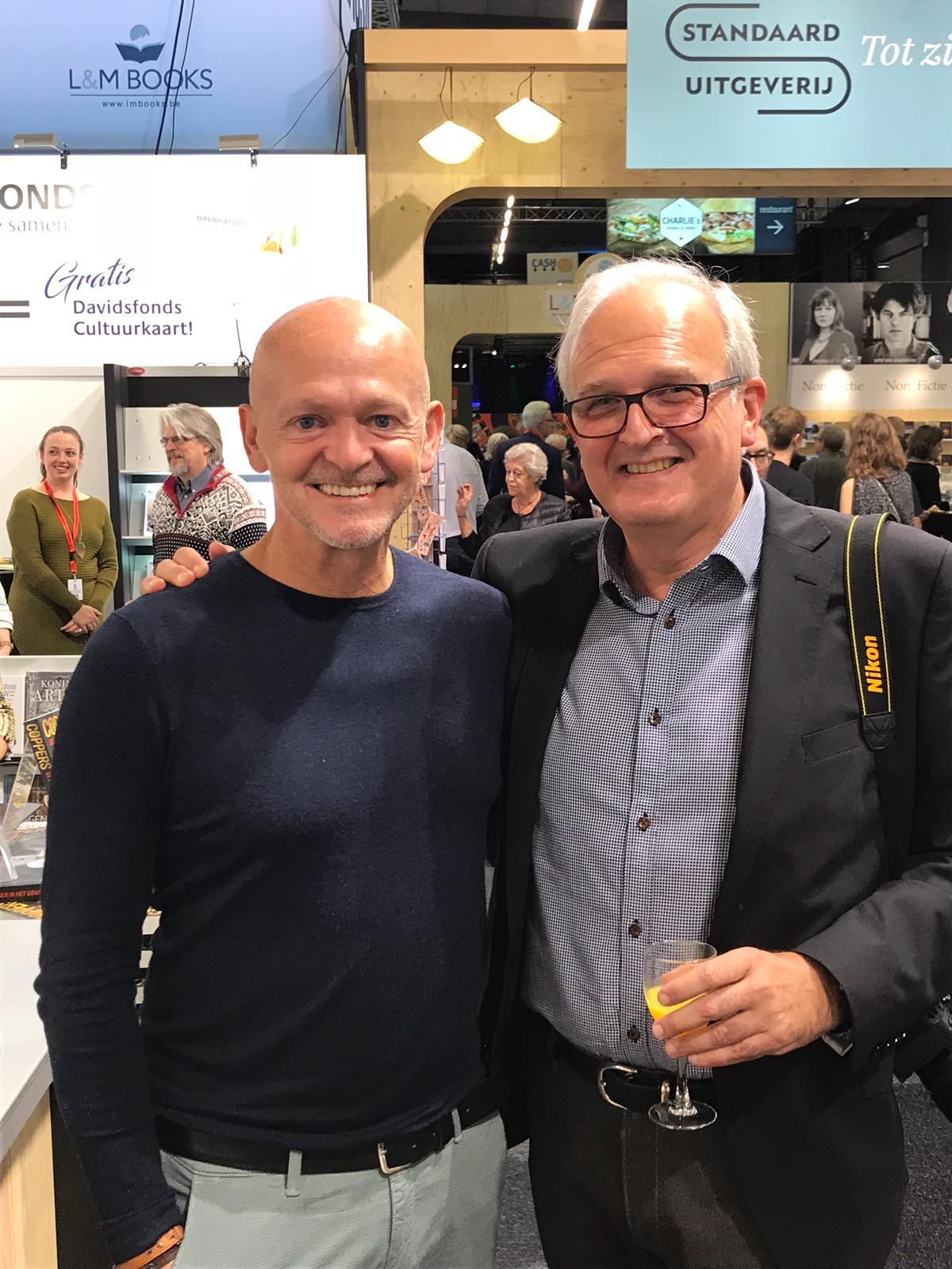 Antwerp Book Fair with fellow crime writer Toni Coppers.