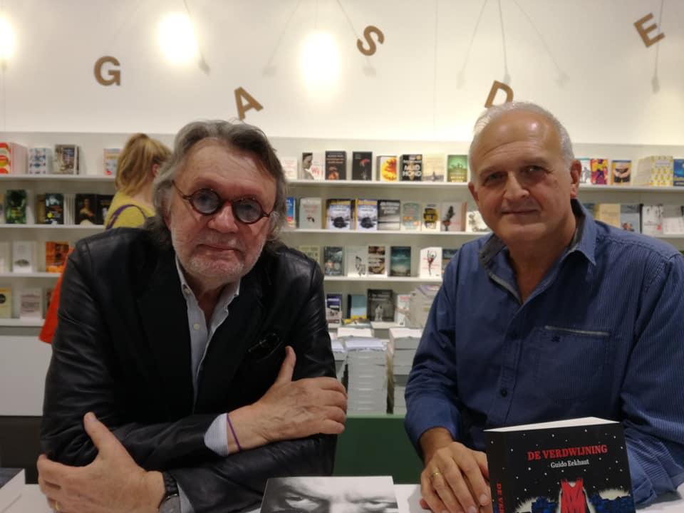 With fellow writer Patrick Conrad at Antwerp book fair (picture: ann carol janssens). November 2018.