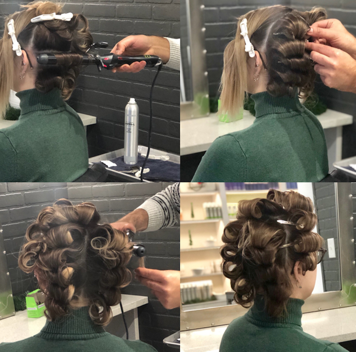 Old Hollywood glamour vintage hair tutorial creating loops with curling tongs