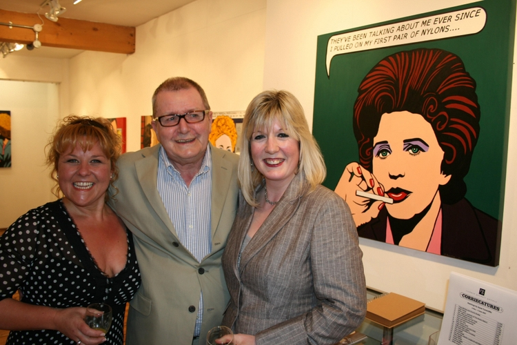 Jayne (right) with Wendi Peters, Tony Warren - and her picture of Elsie Tanner