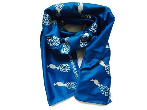 Just So Shop Electric Blue Peacock Block Print Silk Mix Scarf.jpg
