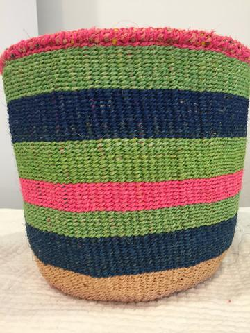 Just So Shop Medium Basket - Pink, Blue and Green Stripped.jpeg