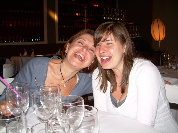 """My gorgeous """"hija"""" and me over lunch in Madrid. Drinks may have been partaken…"""