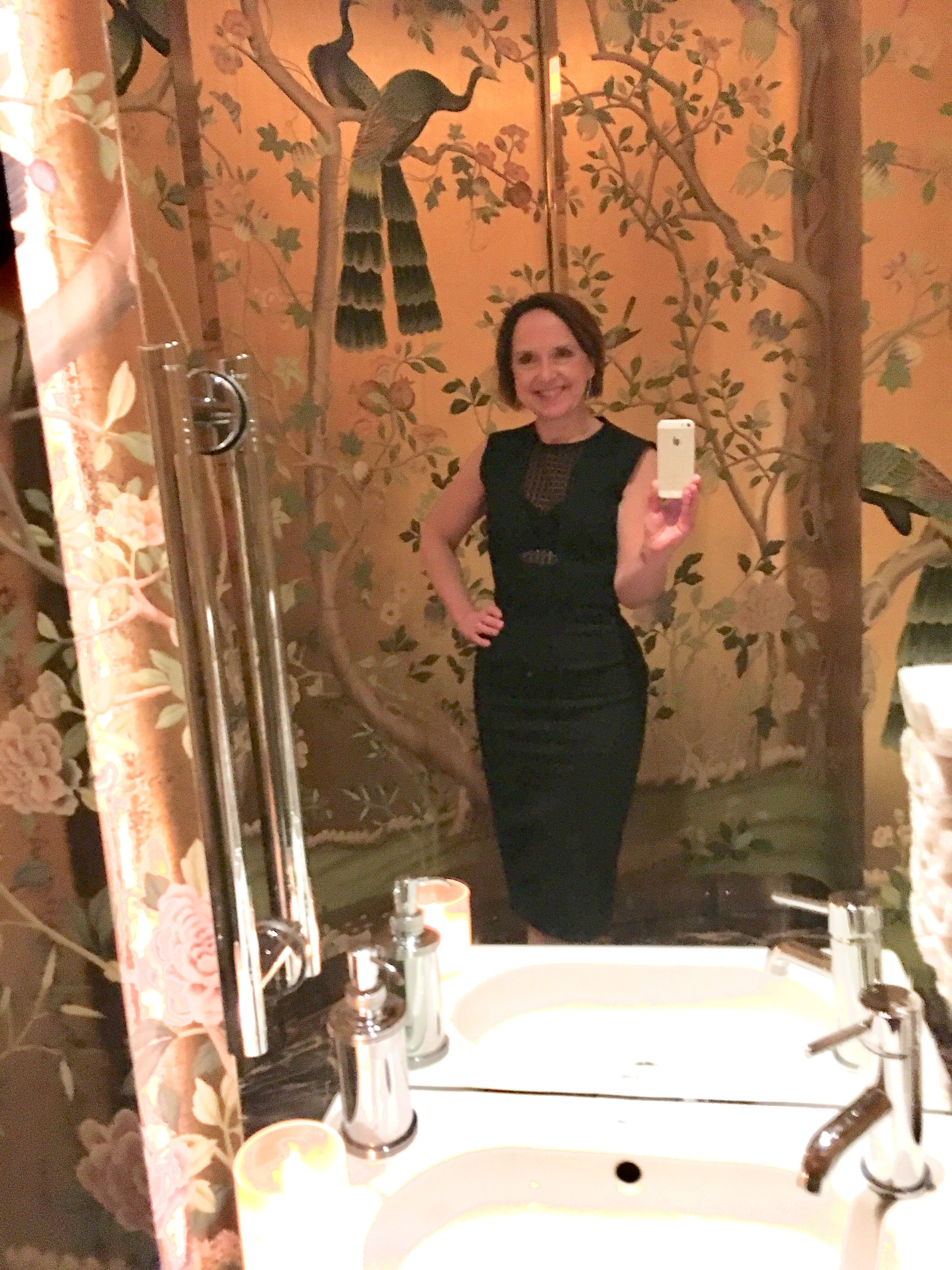 Me in my Victoria Beckham LBD at Isabel restaurant in London – the toilets, because look at them!