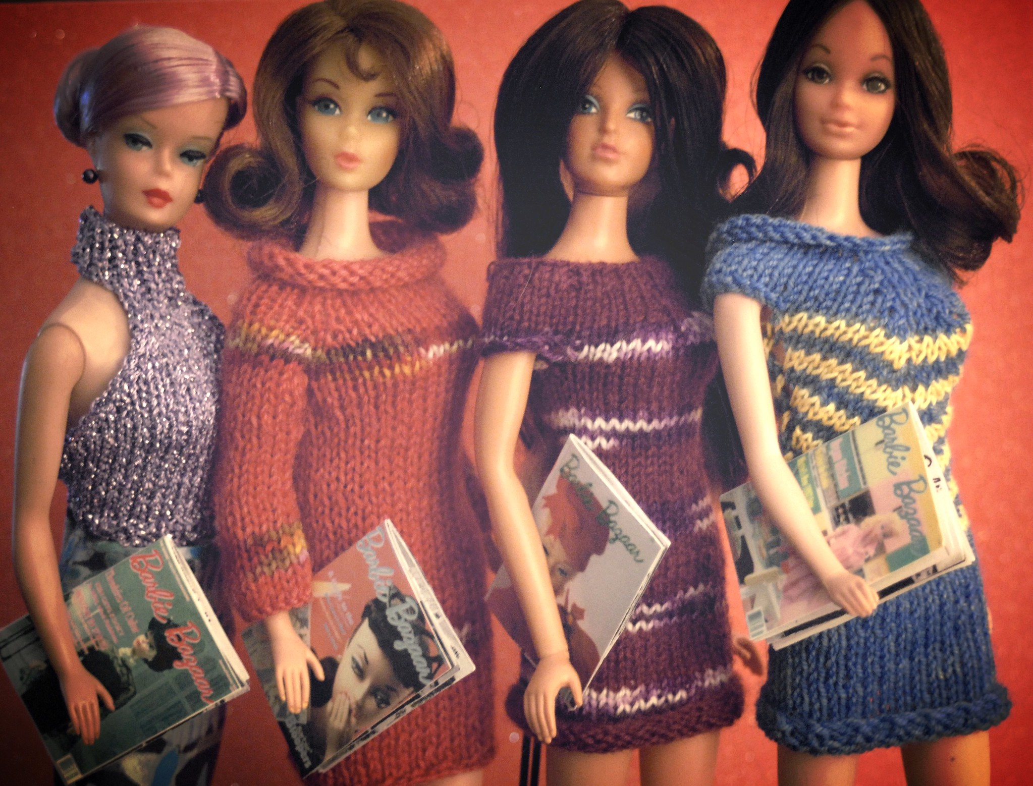 Sindy dolls in knitted outfits