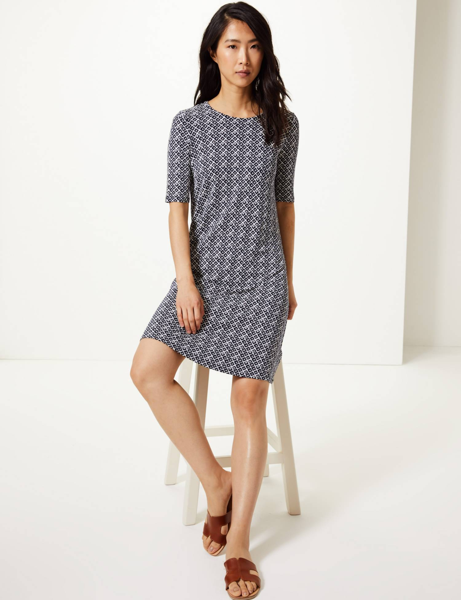 M&S Geometric Print Jersey Swing Dress.jpg
