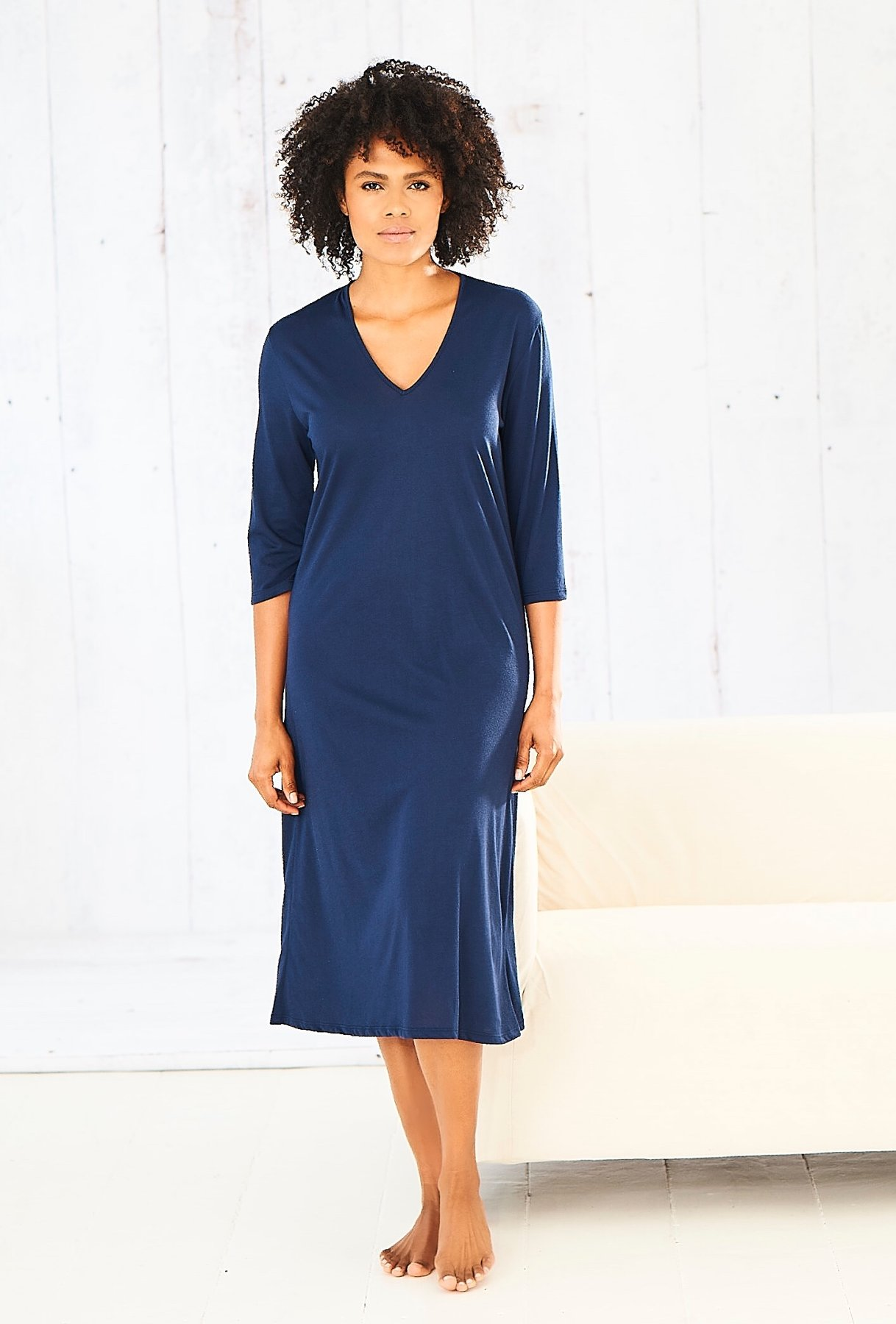 cucumber clothing Navy V Neck Three Quarter Sleeve Dress.JPG