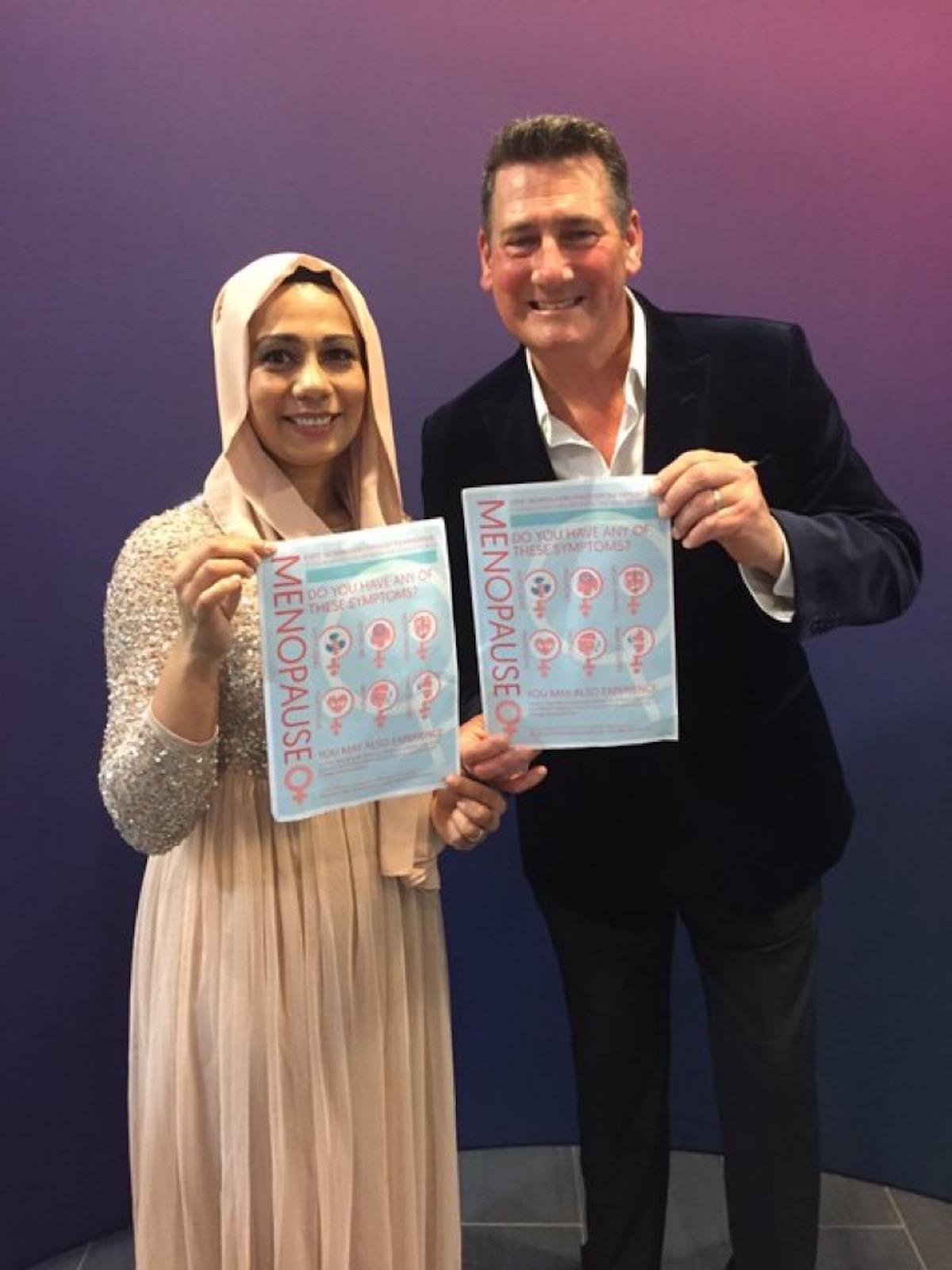 The beautiful Dr Nighat Arif and Spandau Ballet's Tony Hadley support #KnowYourMenopause