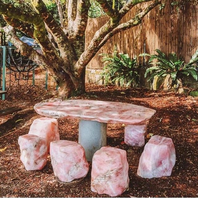 We can't think of a more perfect place to sip Shine Potions on a Friday afternoon 💕🙏🏼✨ We infuse all of our Potions with Rose Quartz gemstone essences for unconditional love. Best shared in community, surrounded by loved ones, and at a Rose Quartz table if you can swing it! ✨❤️✨ #themagicsinyou . 📸 @wickedafstore