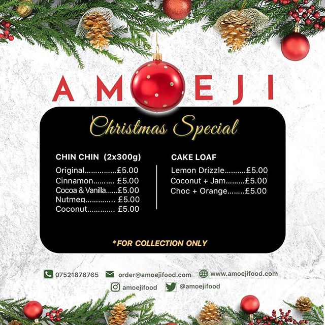 Don't forget to order your chin-chin and cake for Christmas and New Years. Visit www.amoejifood.co.uk, DM us or text us on Repost, Retweet, Share and turn your notifications on. . . . Offer available from 19-12-2018 till 01-01-2019. . . Designed by @designblac . . #amoejifood #chinchin #worldwidedelivery #amoeji #yummy #delicious #crunchy #wontbreakyourteeth #smallchops #foodie #snackmeal #snacktime #chopchop #snackfood #chinchilla #snackbox