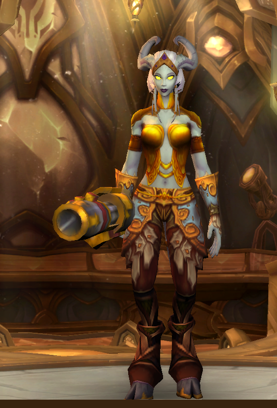 hidden helm - hidden shoulder - hidden cloak -  masterwork breastplate  -  lightforged bracers  -  hopecrusher gauntlets  -  masterwork girdle  -  dills primal leggings  -  gronnstalker's boots  -  recoilless rocket ripper x-54