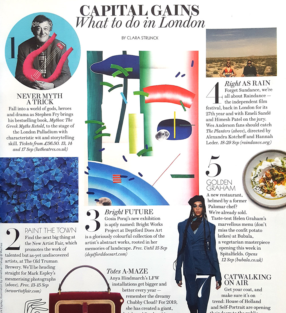 Evening Standard Magazine feature recommending my show