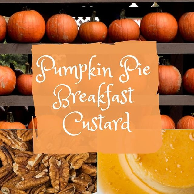 Custard for breakfast? Yes, please!  Pumpkin Pie Breakfast Custard Makes 6 servings  Coconut oil 1 13.5-oz can of coconut milk (full-fat) 2 bananas, overripe 3 tbsp of nut butter 4 eggs Pumpkin pie spice to taste 1 tsp vanilla ¼ to ½ tsp salt 1 15-oz can of pumpkin puree (*not* pumpkin pie filling) ½ cup chopped pecans or walnuts 🥭Heat the oven to 350 degrees. While it's heating, grease a 13x9 baking dish with coconut oil. Place all the other ingredients up to but not including the nuts in a mixing bowl and blend until they are combined.Pour the mixture in the greased baking dish, and sprinkle nuts over the top of it. 🍮Bake the custard for 30 minutes. Let cool and then place in the refrigerator for a beautiful custard texture.