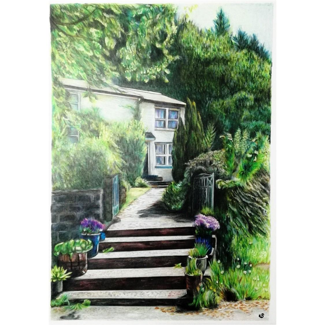 'Aberteweran Farm' - UK, 8.3 x 11.7 inches, 2016, Colour Pencil Landscape of a Farm in Wales