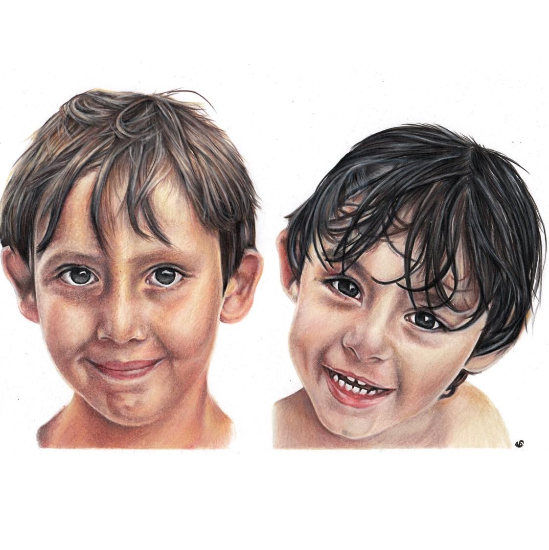 'Sami & Ryaz' - UK, 8.5 x 11.7 in, 2017, Colour Pencil Children Portrait by Sema Martin