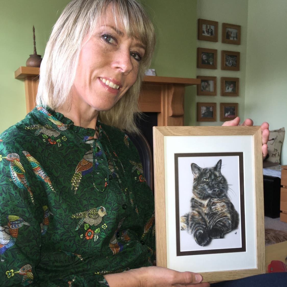 Copy of Tortie tortoisechell colour pencil cat portrait in Worcester uk by sema martin pet portrait artist