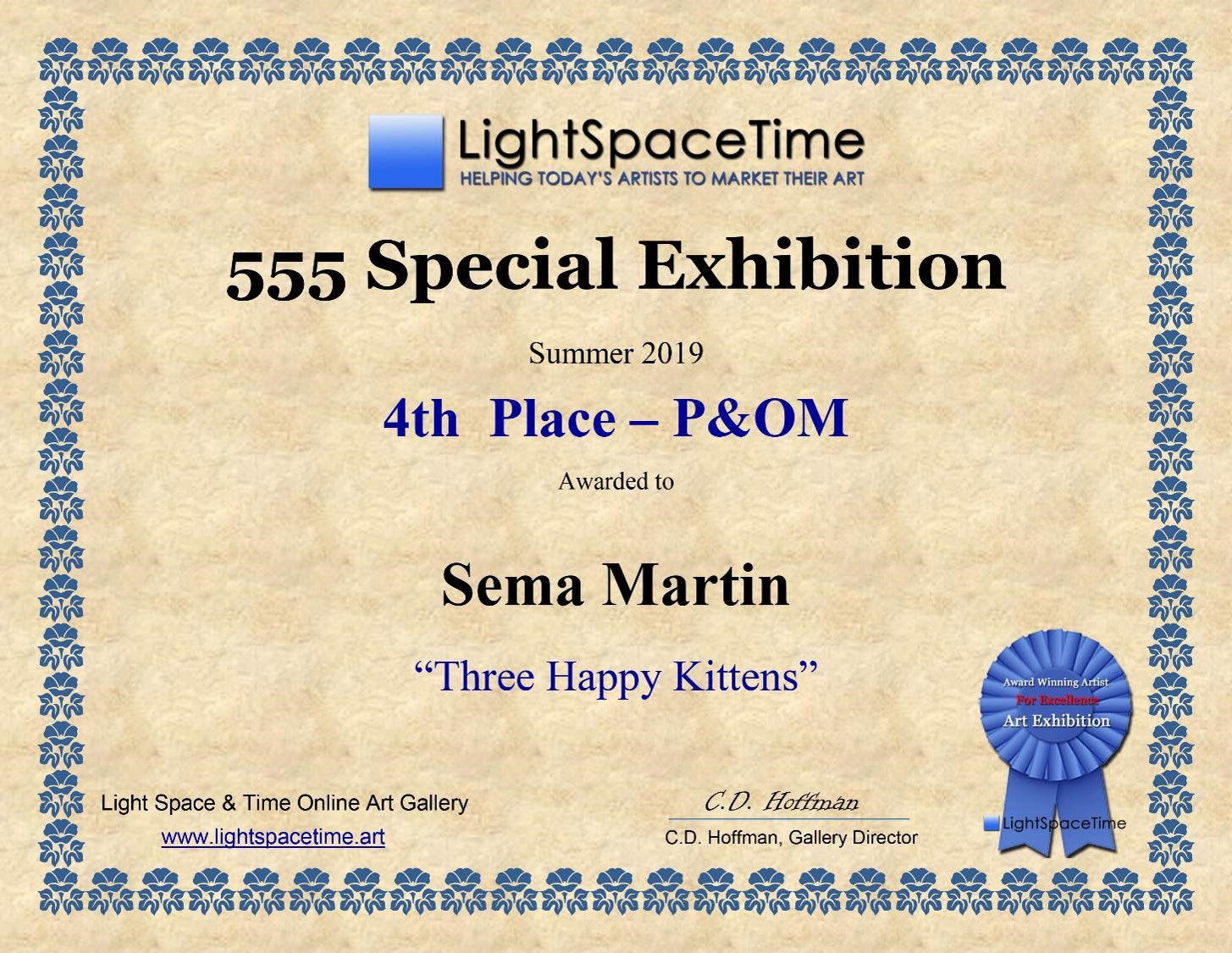 Copy of Light Space Time - 555 Special Exhibition summer 2019 4th place Artist Sema Martin 'Three Happy Kittens'