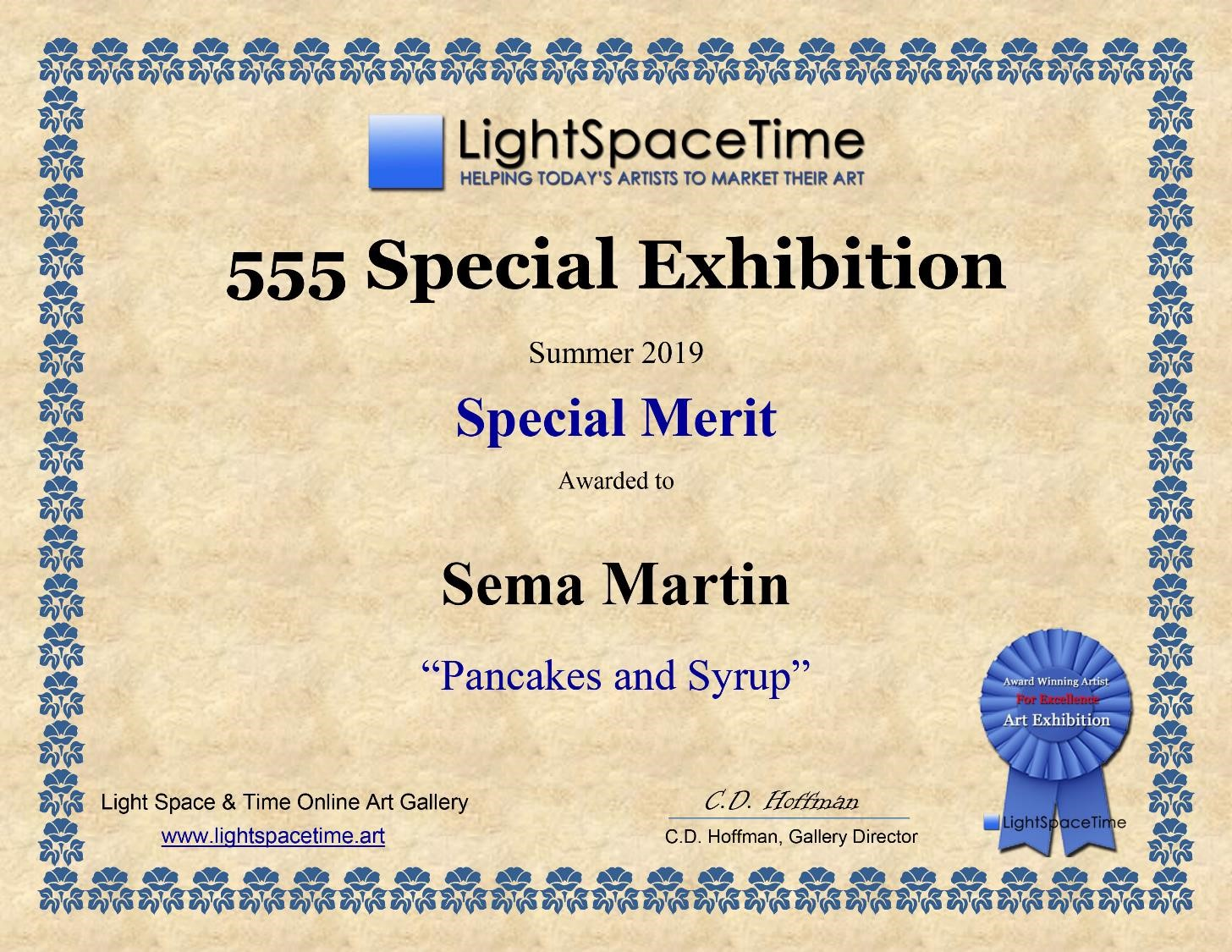 Copy of Light Space Time - 555 Special Exhibition summer 2019, Special Merit, Artist Sema Martin 'Pancakes and Syrup'