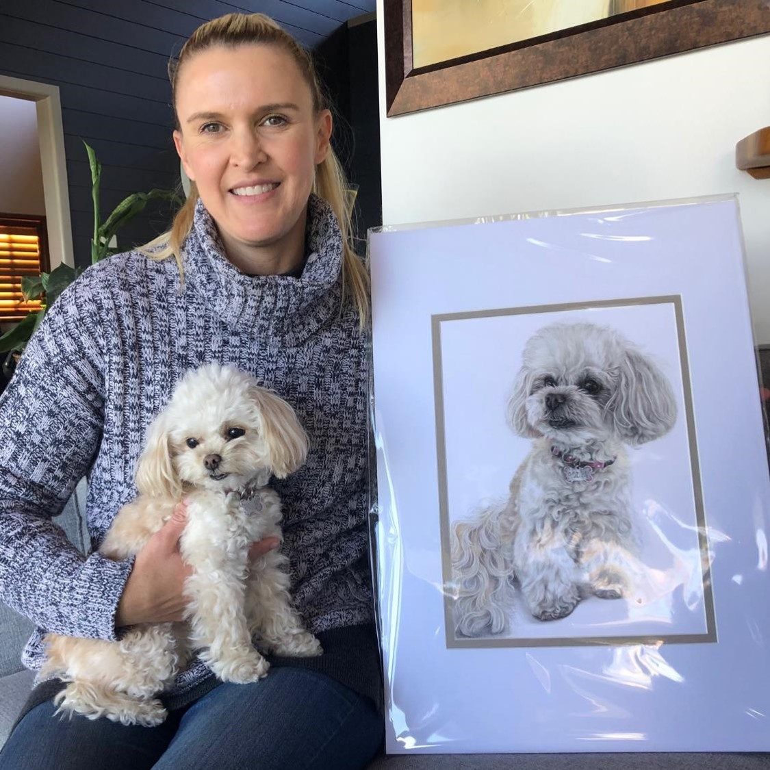 Realistic custom colour pencil portrait of Polly the Chicapoo by Pet Portrait Artist Sema Martin