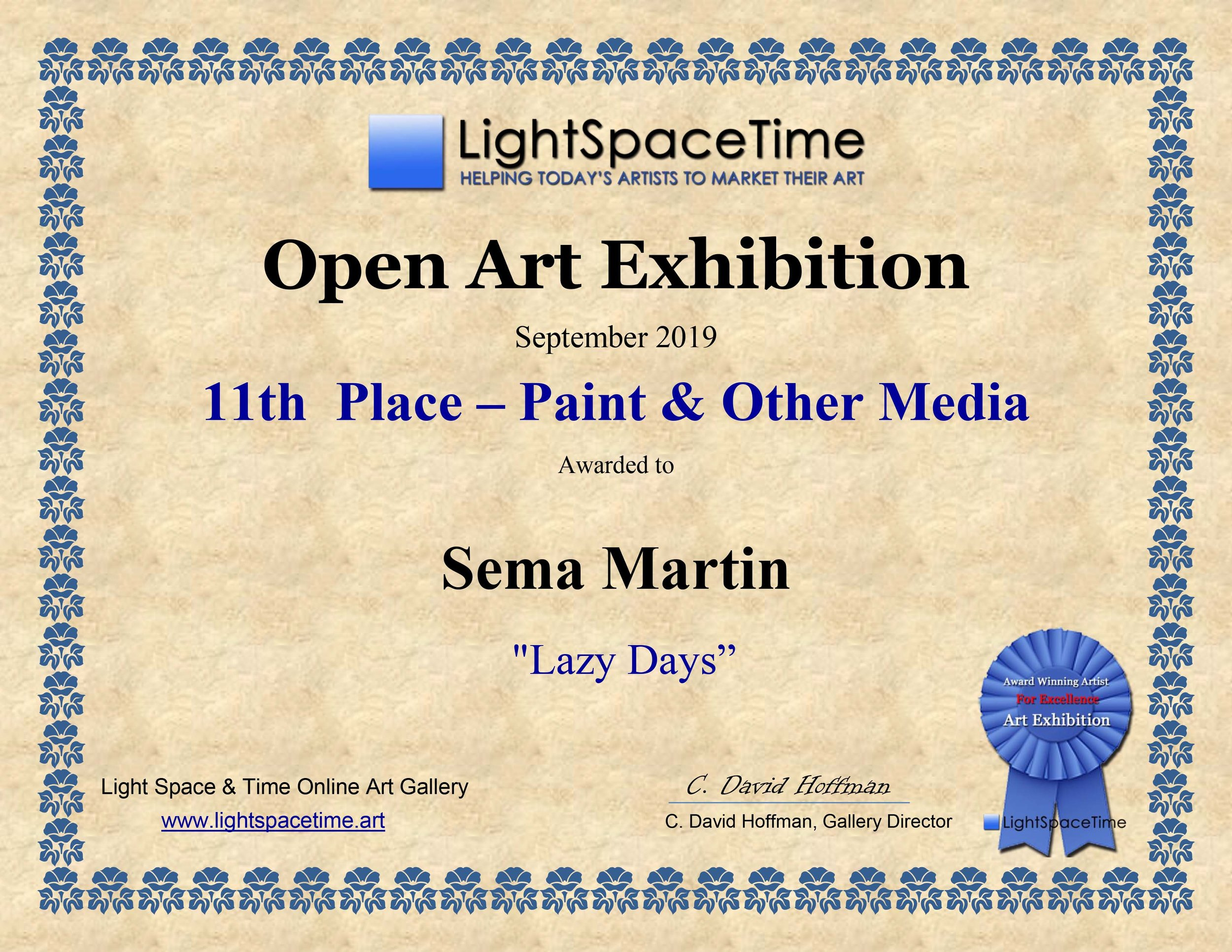 'Lazy Days' by Sema Martin Light Space Time 9th Open Exhibition 11th Place