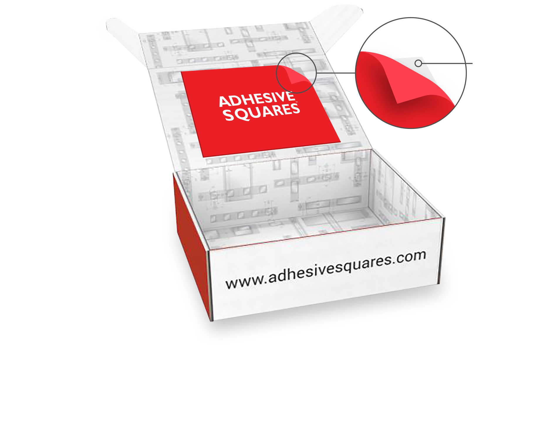 Strong, but removable. - Packaging is the new billboard. Are you using every square inch of yours? Our removable Adhesive Squares hold graphics in place without damaging branding or leaving behind sticky residue. Tell your brand's story with the confidence it'll stick.