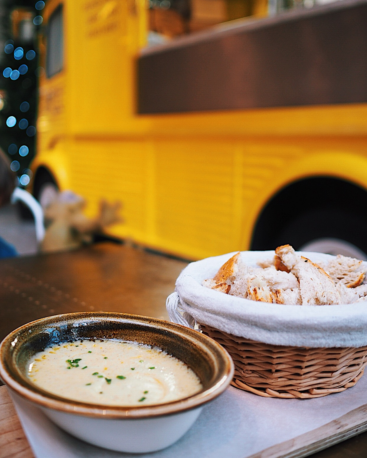 Cheese fondue and Amelie's yellow citroen van