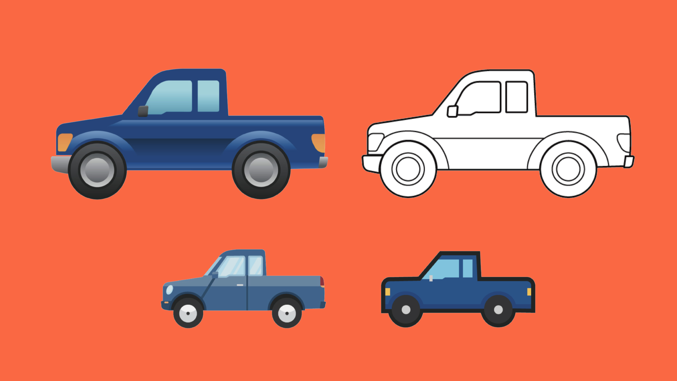 Image from  https://gizmodo.com/ford-secretly-created-the-new-pickup-emoji-because-noth-1836446445