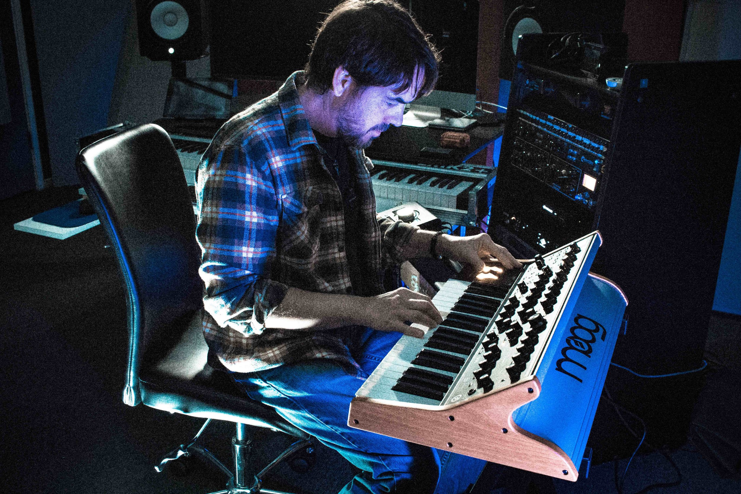 Soluminate in the studio on the Moog