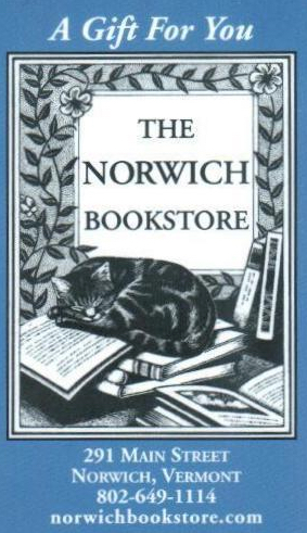Norwich Bookstore Gift Cards may be used in the store OR online for purchases.  If you would like an amount less than $20.00, please call (802) 649-1114 and they will create a gift certificate for you.  Gift Cards may be purchased online, in person, or over the phone by calling (802) 649-1114  (Gift cards will be mailed via the Post Office at no cost.)