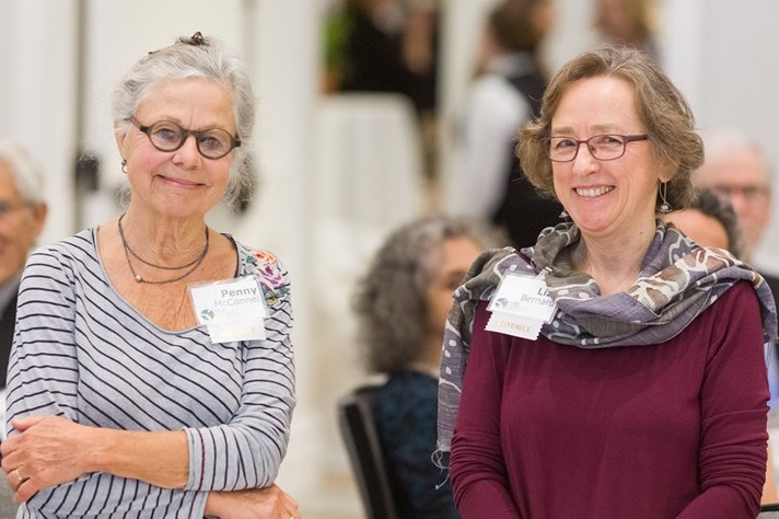Penny McConnel (left) and Liza Bernard (right)  met in 1988 at a book study group.  © The Norwich Bookstore, Norwich, Vermont