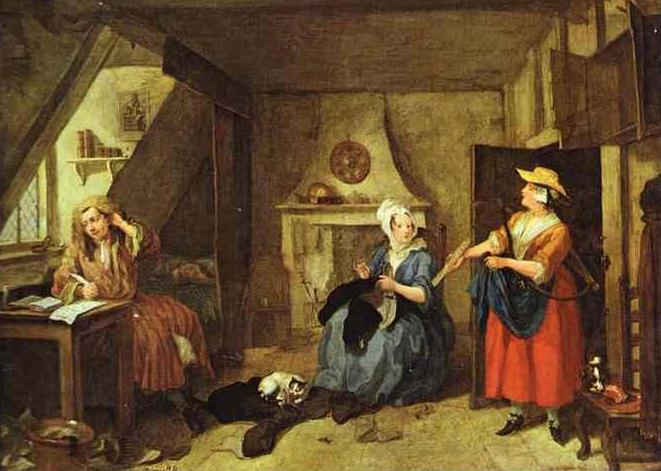 The Distrest Poet,   William Hogarth, c. 1736, Oil-on-canvas,   Birmingham Museum & Art Gallery   ,    Birmingham