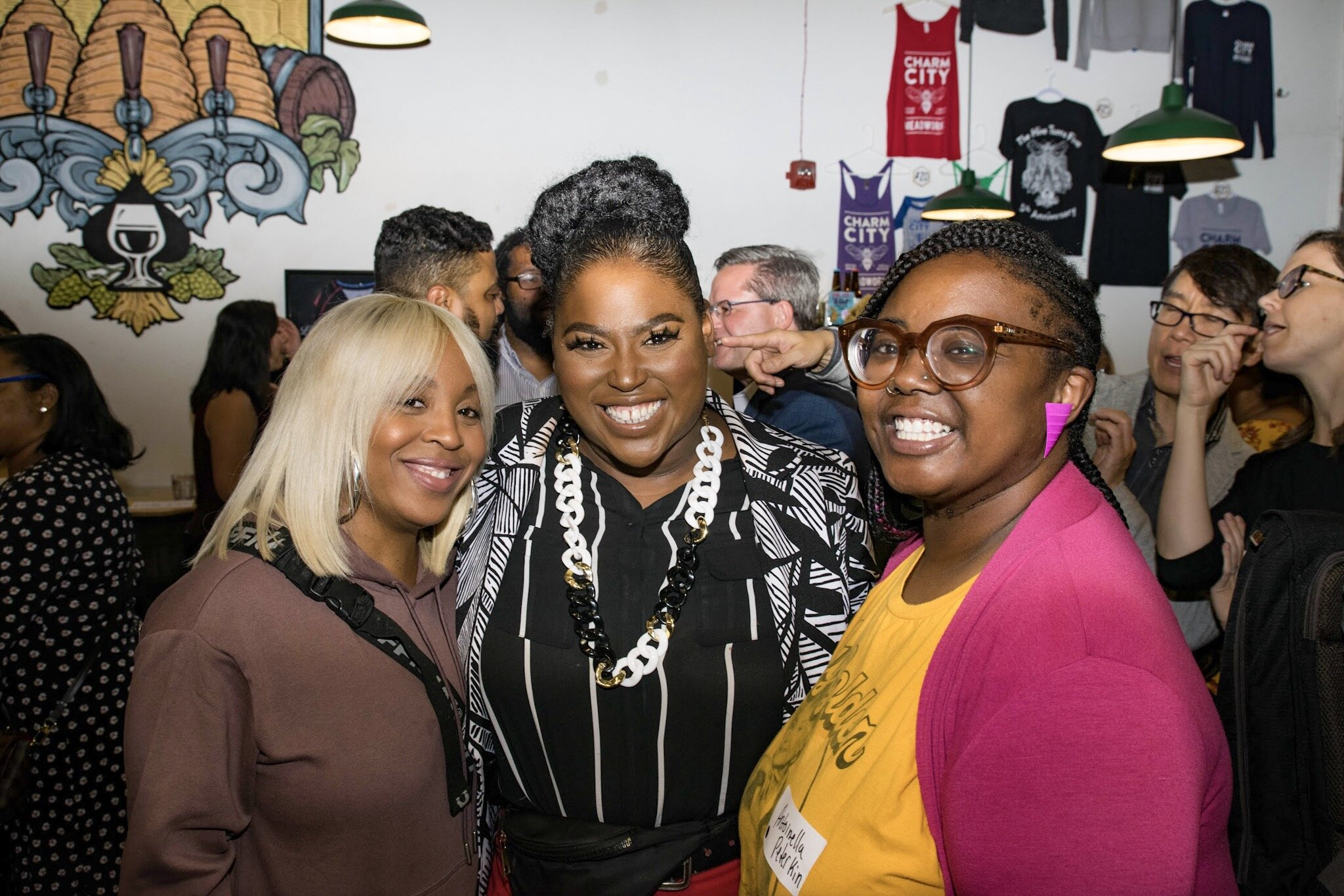 Jamaya Moore and Takia Ross (2018 BCAN Founder Fellowship alum and mentor, respectively) and local entrepreneur Antionella Peterkin