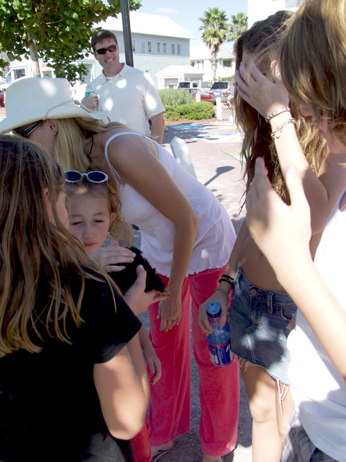 Miley and her family stopped to chat with our family. My mom had her new puppy with us, which our daughter Taylor (age 9) is holding in this photo. Miley, Tish, and Noah took turns holding the puppy. I think they wanted to keep her! (Seaside – October 2006)