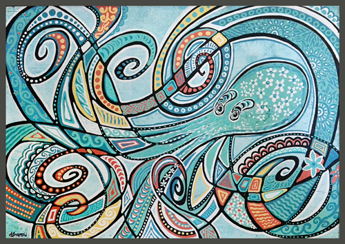 Weathered Octopus | 58x44 inches | $2200