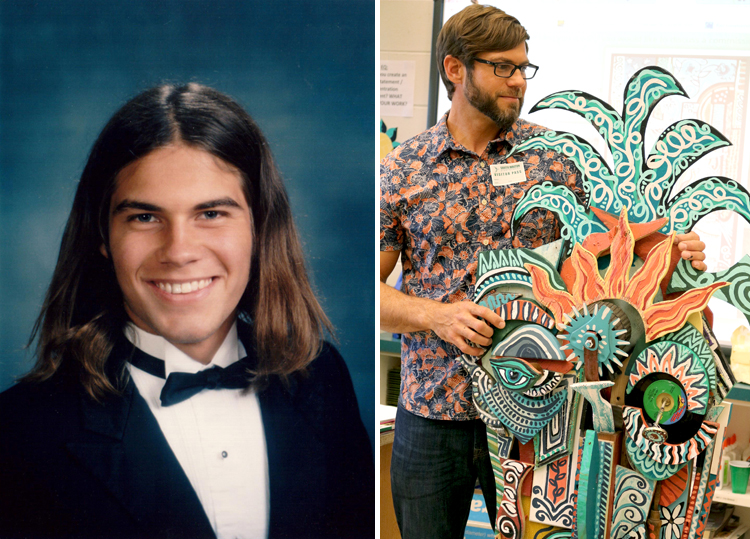 Andy as a high school senior and Andy now