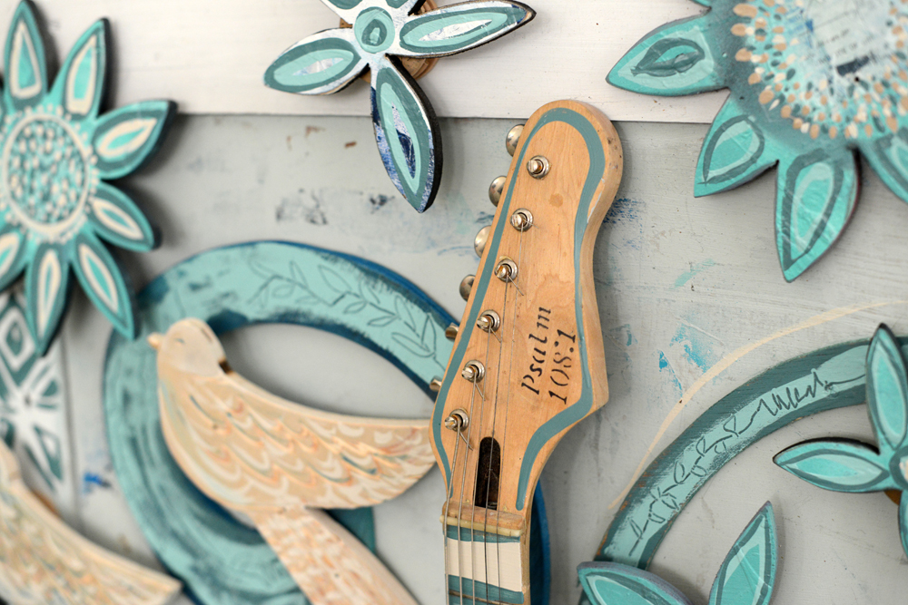 """""""My heart is confident in you, O God; no wonder I can sing your praises with all my heart!"""" (Psalm 108:1)   A few years ago, this guitar was given to Andy with this verse already carved into it. After reading the verse in several different translations, the concept of the piece formed."""